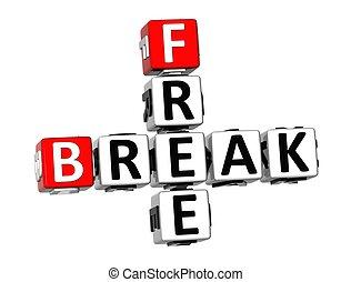 3D Crossword Free Break on white background