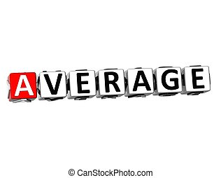 3D Word Average on white background