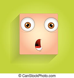 Scared Smiley Face Expression - Surprised Cartoon Funny...