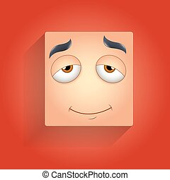 Sleepily Face Smiley - Innocent Smiling Face Smiley Vector...