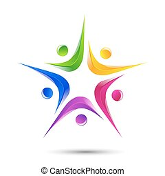 People five logo template icon vector - People Strong logo...