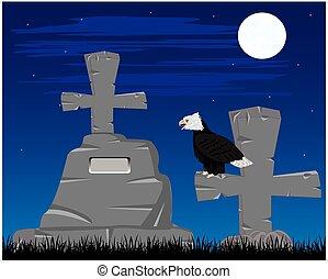Graveyard in the night