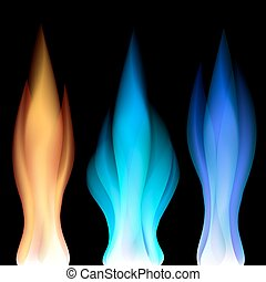Fire flames over black - Set of colorful fire flames over...