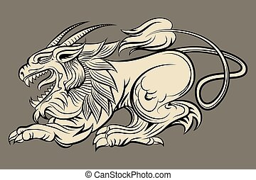 Hand drawn medieval monster - Medieval mythological monster...
