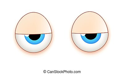Lazy Cartoon Eyes - Lazy Sleepy Cartoon Eyes Expression...