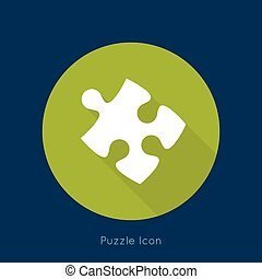 Icon puzzle piece with a long shadow. vector.jigsaw....