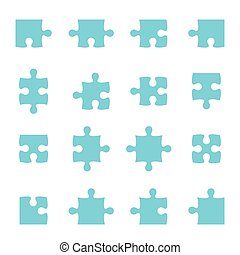 Set of vector puzzle pieces jigsaw connect
