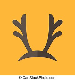 Deer Antlers Christmas Flat Icon - Illustration of Deer...