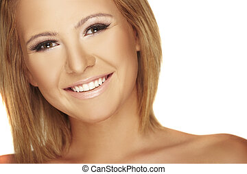 beautiful blond girl with big smile on white background