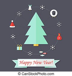 Happy New Year Card with Christmas Tree over Dark Blue