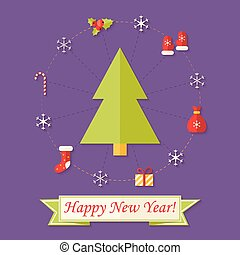 Happy New Year Card with Christmas Tree over Purple