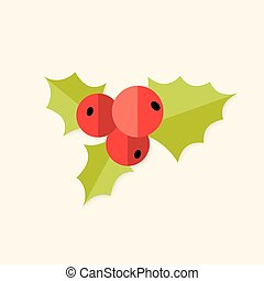Rowan Berry Christmas Flat Icon - Illustration of Rowan...