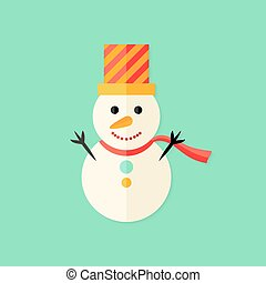 Snowman with Topper Christmas Flat Icon - Illustration of...