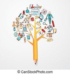 Educação, doodle, conceito,