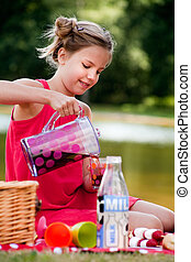 Teenage girl on a picknick - Teenagers having a great time...