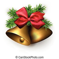 Golden jingle bells with red bow. Vector illustration.