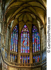 Stained glass window in St Vitus Cathedral in Prague