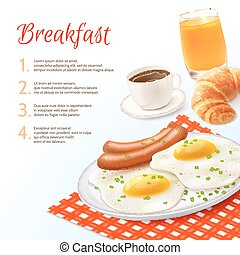 Breakfast Food Background - Breakfast food background with...