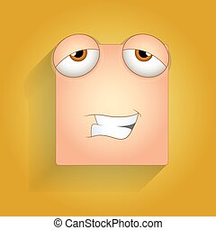 Happy Tired Face Expression - Naughty Smile Cartoon Smiley...