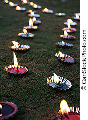 Diwali Lamps Lawn - Traditional lamps arranged beautifully...