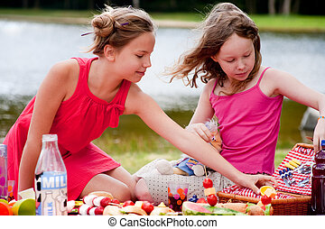 Young girls and the picknick box - Teenagers having a great...