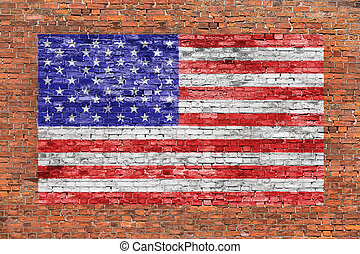American flag painted over old brick wall