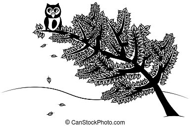 Owl sitting on the tree - Background with owl sitting on the...