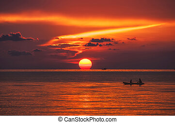 Sunset in Thailand - Sunset over the sea at amazing Ko...