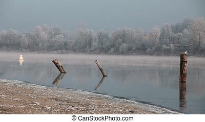 quiet misty morning on the river - sunrise on the river...
