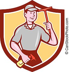 Window Washer Cleaner Squeegee Shield Cartoon - Illustration...