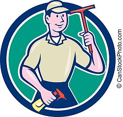 Window Washer Cleaner Squeegee Cartoon - Illustration of a...