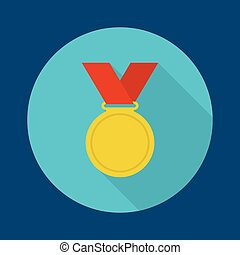 Gold medal with red ribbon a flat design with a long shadow...