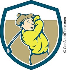 Golfer Swinging Club Shield Cartoon
