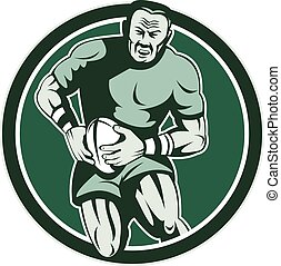 Rugby Player Running Attacking Circle Retro