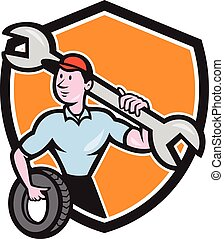 Mechanic Spanner Wrench Tire Shield Cartoon - Illustration...