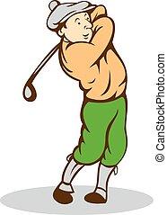 Golfer Swinging Club Cartoon