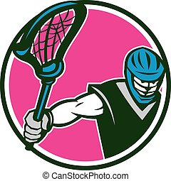 Lacrosse Player Crosse Stick Circle Retro - Illustration of...