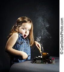 Cute little girl repair electronics by cooper-bit - Cute...