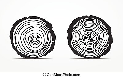 Saw cut tree trunk  set isolated on white background.vector
