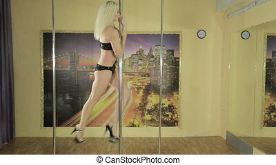 Pole dancer girl training in private gymnasium -...
