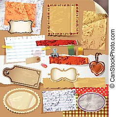 Digital Scrapbooking set - Scrapbooking set with old paper...