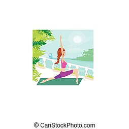 Woman in pose practicing yoga