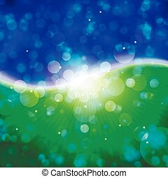 blue green bokeh - Abstract background Background with bokeh...