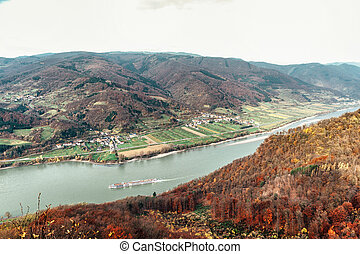 Passenger Ship in the Danube River Taken in Wachau, Lower...