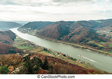 Beautiful landscape with danube river in wachau, lower...