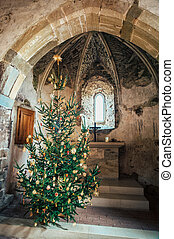Christmas tree in a medieval chapel
