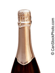 Champagne bottle, isolated on a white background.