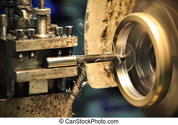 lathe machine in a workshop, Part of the lathe Lathe machine...