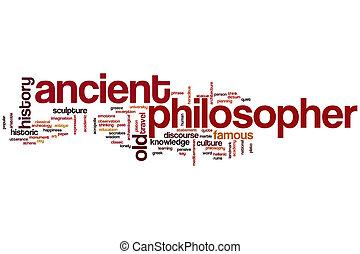 antiguo, filósofo, palabra, nube,