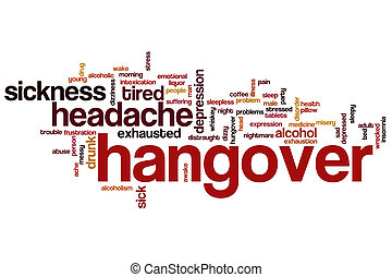 Hangover word cloud concept with headache alcohol related...